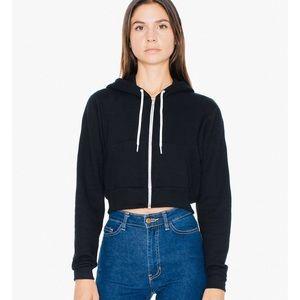 NWOT American Apparel Fleece Zip Cropped Hoodie
